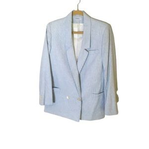 Saks Fifth Avenue Pinstripe Blazer Blue White 12